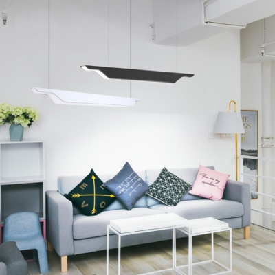 Modern Designer Lighting LED Metal Pendant Lamps Black/White Led Linear Fixture in Sabre Shaped L45.28
