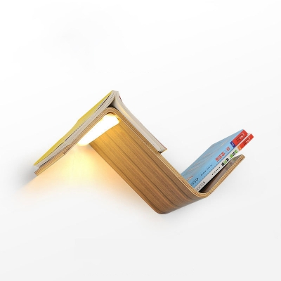 Black Walnut Bedside Reading Room Living Room Wall Light 15W 12.60 Inch Long Wave Shaped Plywood Wall Sconce with Acrylic Lampshade