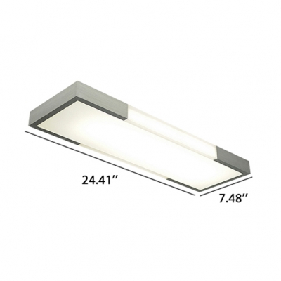 Contemporary Led Rectangular Ceiling Mount Lighting 16/24W,  Balck/Silver Seamless Connection Led Linear Lights for Garage Workshop Office Stores Foyer