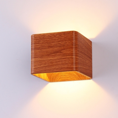 Dark Wood Grain Small Wall Sconce 6W 3000K/6000K Hollow Square Led Wall Light Not Dimmable Bedside TV Wall Porch Cubic Led Wall Lighting
