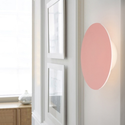 Home Decorative Macaroon 5.90in Wide Eclipse LED Small Wall Light 5W Metal Round Led Sconce Color Changeable for Stairways Office Hotel Hallway 4 Colors for Option