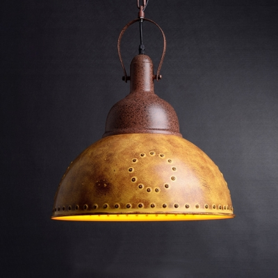 Retro Style Rust Iron Finish 1 Light Hanging Pendant Lamp with Dotted Metal Dome Shade 16.14