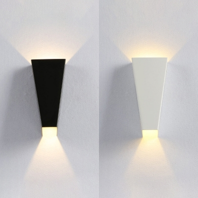 Strait Up Series Trapezoid Wall Sconces Light 3 93 High 6w Aluminum 2 Head Led Up Down Wall Light In Black White For Outside Porch Hotel Room Hallway Beautifulhalo Com