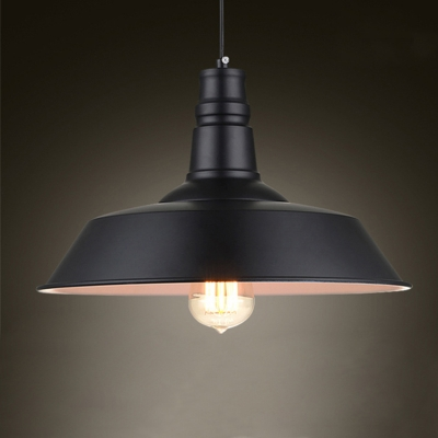 "Image of ""10.24"""" Wide Matte Black Buffet Hanging Pendant Light with Inner White Round Shade"""
