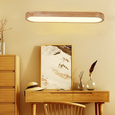 Minimalist Contemporary Oval Shaped Led Wood Netural Light 16/24/36W Led Ellipse Surface Mount Lighting in Oak for Kitchen, Bathroom, Study Room, Studio 3 Sizes for Option