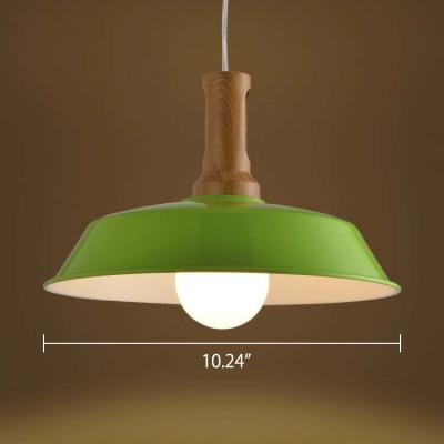 Nordic Style 1 Light Industrial Small LED Pendant Light in Cute Green Finish with Wood Accent
