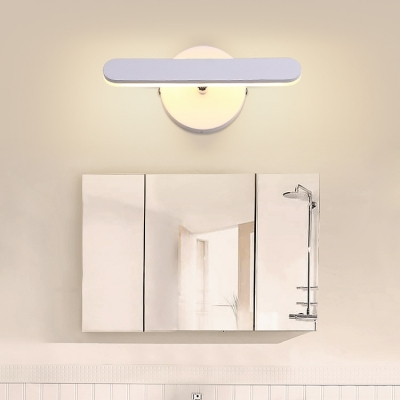 Nordic Style Bathroom Vanity Light Head Rotative 6W Led Wall Light in Matte White Iron Led Linear Sconce for Makeup Mirror Dresser Wac Lighting