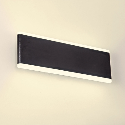Modern Indoor Outdoor Wall Light Waterproof Aluminum LED Warm White Light Rectangular Shaped Sconce in Black Finish for Corridor Back Yard Porch Bedroom