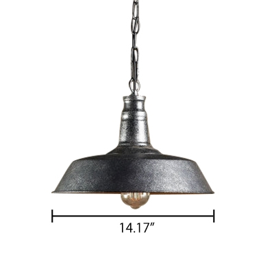 Retro Style 1 Light Industrial Barn Shade Ceiling Pendant Light in Dark Weathered Zinc Finish 10/14/18 Inch Wide