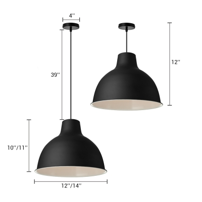 Simple Style One Light Black Dome Shade Pendant Lighting with White Inner Finish for Restaurant