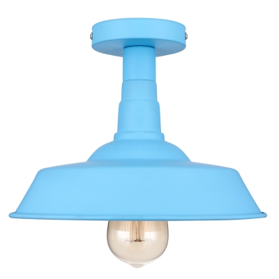 Single Light Down Lighting Blue Semi Flush Ceiling Fixture