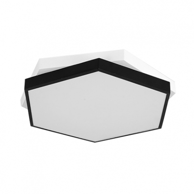 Black Finish Modern Geometrical Lighting LED 2-tier Hexagon Led Ceiling Light 24/36W, Low Wattage Energy Saving Led Direct Indirect Lighting Suitable for Bedroom Living Room Bathroom Entryway Office
