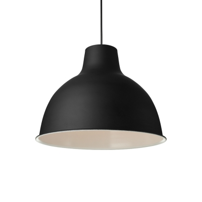 Simple Style One Light Black Dome Shade Pendant Lighting with White Inner Finish for Restaurant