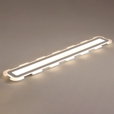 32-80W, Warm White Light Led Linear Strip Surface Mount Lighting Modern Acrylic Linear Flush Light in White Finish for Dining Room Study Room Workbench Conference Room