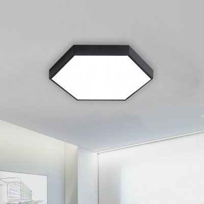 Contemporary Black Metal Hexagon Shade Led Flush Mount Lights 15.75