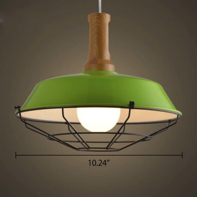 Modern Industrial Cage LED Green Pendant Light in Wood Finish