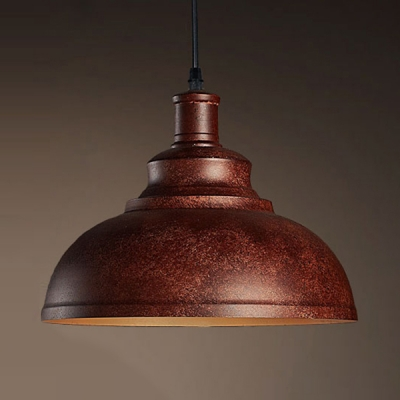 Retro Antique Copper LED Pendant Light with Dome Shape