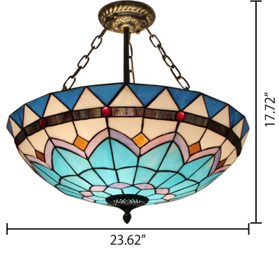 Tiffany Style 2/5-Light Blue Inverted Pendant Light in Mediterranean Style, 2 Sizes for Option