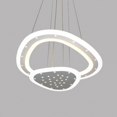 Room Deco Lights 2 Tier/3 Tier Mango Shaped LED Chandelier 85/160W Acrylic Hanging Light with Faceted Crystals for Living Room Bedroom Dining Room