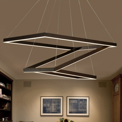 Triple Ring Chandelier Dark Brown 120/172/350W Brushed Aluminum Square/Rectangular LED Chandelier with Cool White Light (25.60