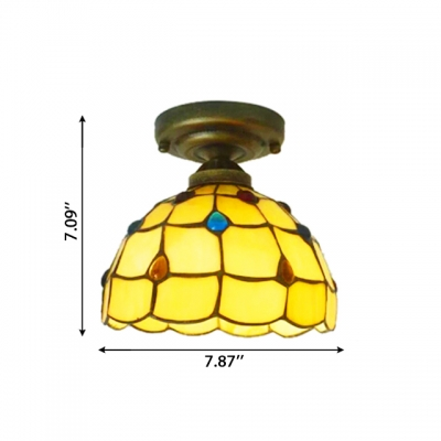 8 Inch Stained Glass Tiffany One-light Semi Flush Mount Ceiling Light with Colorful Beads