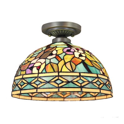 Floral Theme Tiffany Style Dome Shaped Semi Flush Mount Ceiling Fixture with Colorful Glass Shade, 2 Lights