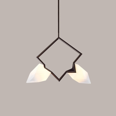 Nordic Style Decorative Rock Crystal Chandelier 1 Light-12 Light Black Metal Branch LED Chandeliers for Dining Table Restaurant Bar Counter (AC110V-220V)