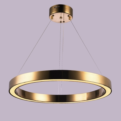 Post Modern Aluminum Circular Ring Chandelier Cord Adjustable 1/3 Rings Polished Brass Saturn LED Chandelier for Dining Room Buffet Restaurant Hall