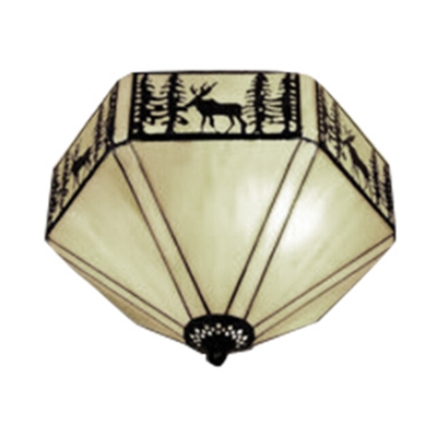 White Tiffany Flush Mount Ceiling Light with Loft Deer Pattern Hexagon Shade