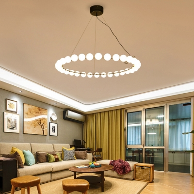 110V-240V 32W Modern LED Circle Pendant Light Black Steel Cream Glass Bubbles LED Chandeliers 33.46