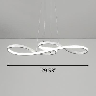 Satin White LED Twist Pendant Lighting 29.53