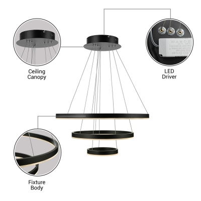 Black Circular Chandelier Lighting Multi Tiered 1 Light/2 Light/3 Light Slim LED Cylinder Pendant Light in Acrylic Shade for Entryway Hallway Foyer