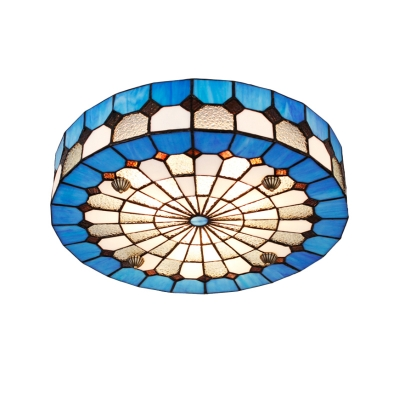 Circular Grid Blue Stained Glass Tiffany Flush Mount Ceiling Light in Mediterranean Style 2 Sizes Available