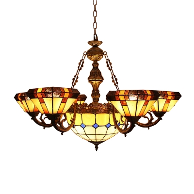 Classic Tiffany 7-Light Yellow Stained Glass Chandelier with Center Bowl 2 Designs for Option