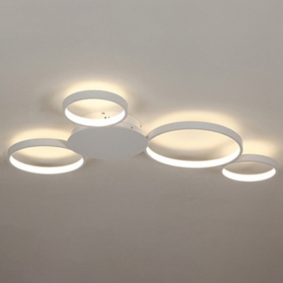 Contemporary Living Room Bedroom Lighting White Finish 4 Rings LED Ceiling Fixture 49W-75W LED Warm White Neutral 3 Sizes for Option