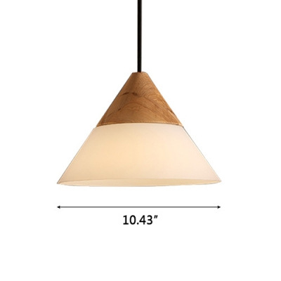 Frosted Glass Cone Shaded Elegantly Designer Wood Mini Pendant Light