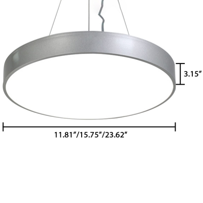 Polished Silver Finish Modern Commercial Led Lighting Metal Acrylic LED Round Chandelier 30W/36W/50W 3 Sizes for Options Suitable for Office Gallery Hallway Bedroom