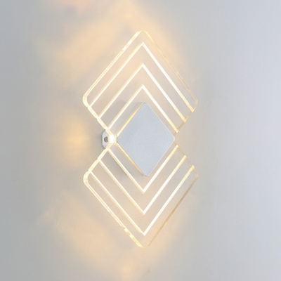 Remote Control Acrylic Led Wall Sconces 6W Warm Light Geometric Shaped Frosted Opal Glass/Clear Glass Led Wall Lighting for Bedroom Living Room Corridor 2 Designs Available