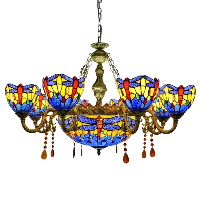 8+1/10+1 Lights Blue Stained Glass Dragonfly Chandelier with Aged Brass Arms in Shabby Chic Style