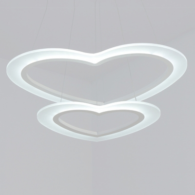 Anti-glare Multi Ring Pendant Light Cream Glass Loving Heart LED Chandelier 12/36/120W 1/2/3 Tier LED Suspension Fixture Height Adjustable for Kids Girls Bedroom