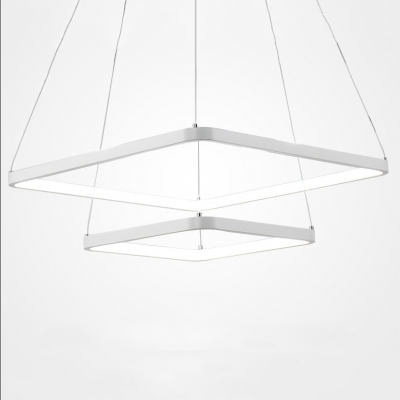 Simple Chandeliers Cord Adjustable Ultra-thin Aluminum Square LED Pendant Light Multi Tiered 1/2/3 Ring Chandelier in White for Bedroom Bathroom Living Room