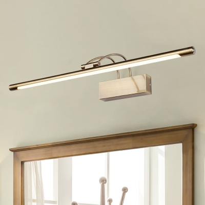 Contemporary Nickel/Antique Brass Tube LED Picture Light 9-16W Arc Arm LED Vintage Light in Acrylic Shade Dampproof Antifog Modern Bathroom Lighting