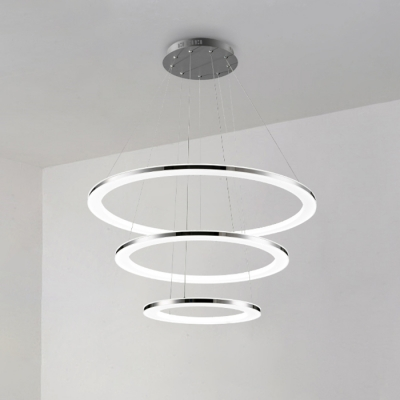 Cord Adjustable Multi Light Pendant Acrylic 2 Light/3 Light/4 Light Low-Profile Dining Room Kitchen LED Chandelier in Polished Silver with Warm White Light