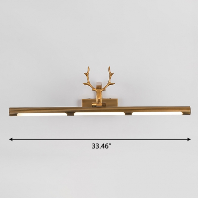 Country Style Antler LED Vanity Light 7/12/16W LED Neutral Light Antique Brass Tube Picture Light for Bathroom Gallery Art Work Mirror  (17.32