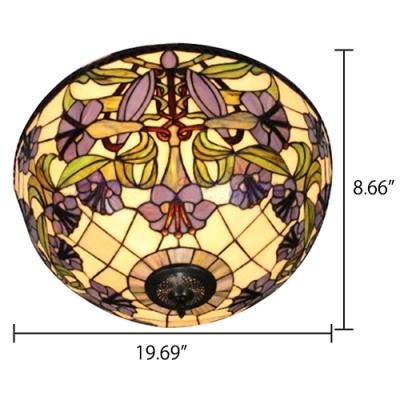 Foyer Lamp Tiffany Flush Mount Ceiling Light with 16