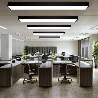 Fully Illuminious 35W-60W Rectangular LED Flush Mount Light Bright LED White Light Aluminum Office Meeting Room Study Room Linear Ceiling Flush Light in Black
