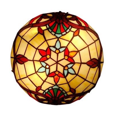 Gorgeous Flower Motif Accented Tiffany Glass Shade Flush Mount Ceiling Light