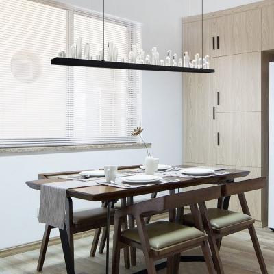 Home Decorative Lighting Black Metal Led Linear Chandelier 4724 Long