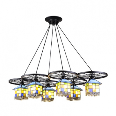 Large Size 6/10-Light Multicolored House Shade Pendant Lamp with Wheel Decor in Lodge Style