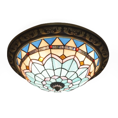 Mediterranean Style 4-Light Stained Glass Flush Mount Ceiling Light, Large Size